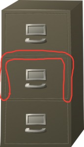 Filing Cabinet with Edges Circled