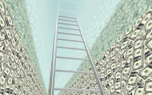 Ladder in stacks of money